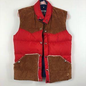 VTG GERRY Red Down Vest Suede Fleece Pockets